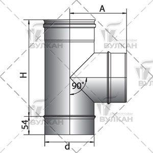 Тройник 90° D104 без изоляции, зеркальный (Вулкан)