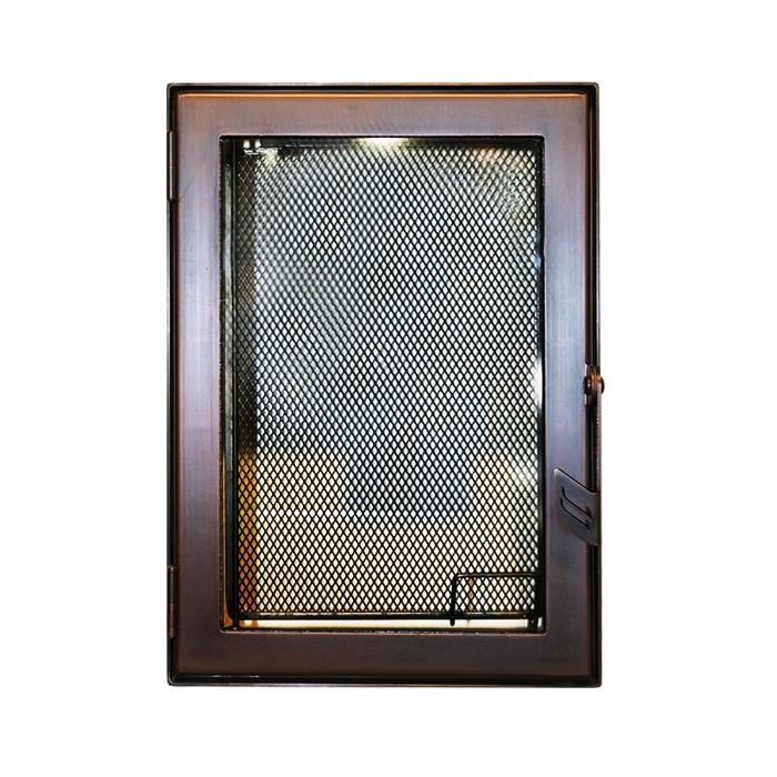 Дверца каминная 9062, со стеклом, медь (Aito)