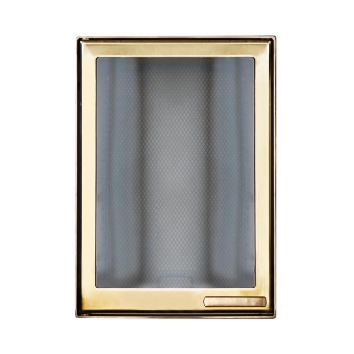 Дверца каминная 9066U, со стеклом, золото (Aito)