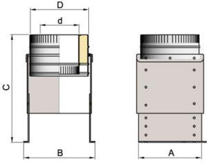 Опора напольная DOFH D104 с изол.50мм, нерж321/нерж304 (Вулкан)