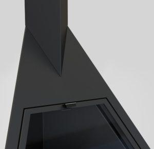 Камин Foxi, угловой, подвесной, черный (Traforart)
