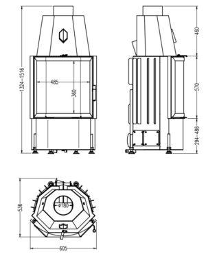 Топка 600/57 K ECOplus, черная рамка (Hark)